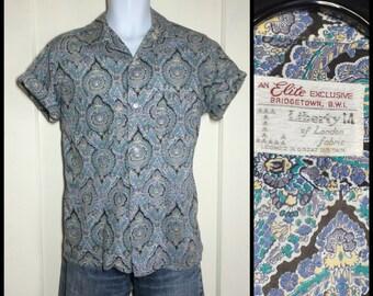 Vintage 1950s Paisley Patterned Print Loop Shirt Short Sleeve looks size Large Liberty of London Leisure blue lavender
