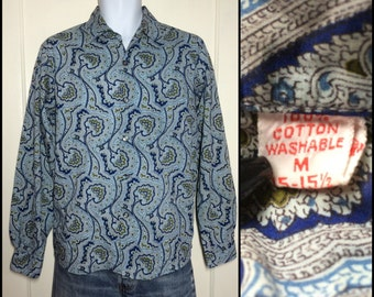 1950s fine cotton Loop Shirt size Medium matched pocket Blue Paisley patterned