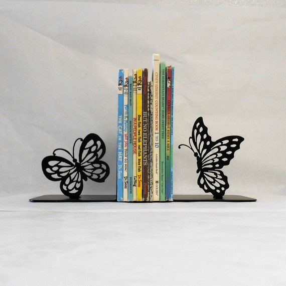Butterfly Silhouette Metal Art Bookends