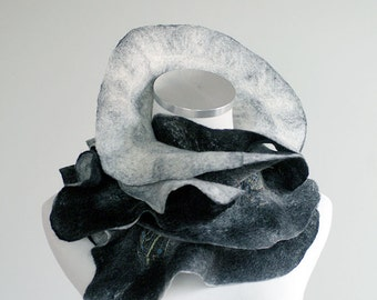 Ruffled black and white nuno felted scarf, wool, silk