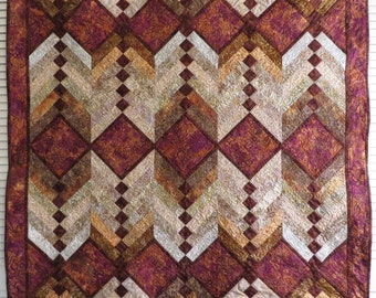 Brown batik French Braid Patchwork Quilt Couch throw