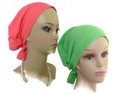 Hair Snood: Green or Coral Gauze Turban |Volumizer Chemo Headwear | Cancer Patient Hat | Hair Covering | Tichel Mitpachat | Beach Head wear
