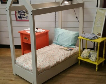 Toddler House Bed with Storage and Light