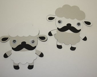 Set of 6 - Sheep with Moustache Party Decor and Scrapbooking Embellishments