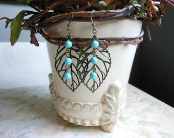 Brass Leaf Earrings,Turquoise Dangle Earrings