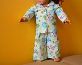 18 Inch Doll Two Piece Green Turtle Print Flannel Pajama Set by SEWSWEETDAISY