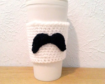 Mustache Cozy, Coffee Cup Sleeve, Crochet Cozy with Mustache, Reusable Cup Sleeve
