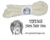 White Yarn Hair Ribbons, Yarn Hair Ties, ET, Gertie, Cosplay, Costume, Birthday Party Favors, Easter Basket Stuffer
