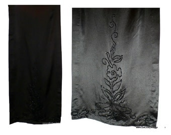 Edwardian Black Silk Satin Beaded Dress Panel, Vintage Sewing Supply, Antique Fabric