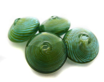 10 Green and Blue Blown Glass Beads - CG496