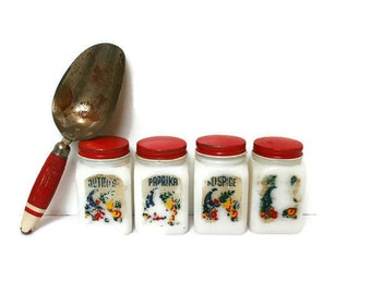 Vintage Spice Jars Milk Glass with Red Lids with Tin Shakers for Storage or Kitchen Display