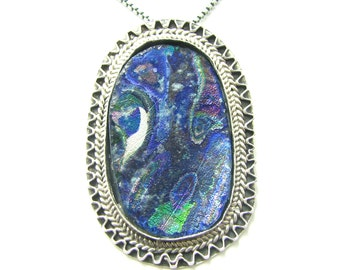 Stunning  One Of A Kind Hand Made  925 Silver Rare Filigree   Roman Glass Pendant Necklace