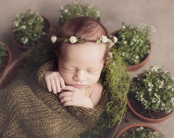 Olive Green Snuggle Sack Newborn Baby Photography Prop Cocoon