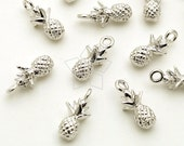PD-1631-OR / 2 Pcs - Tiny Pineapple Charm Pendant, Fruit Charm, Silver Plated over Brass / 5mm x 11mm