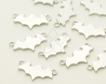 PD-1345-OR / 2 Pcs - Bat Sideways Pendant, Silver Plated over Brass / 13mm x 6.5mm