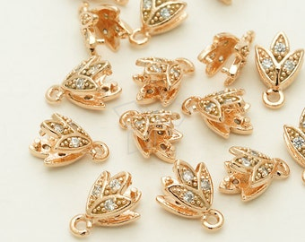 PS-076-RG / 2 Pcs - Sprout Pinch Bail with CZ Stone Detail, Rose Gold Plated over Brass / 6mm x 10mm