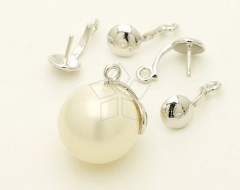 PS-077-OR / 4 Pcs - Scoop Cap and Bails for Half Drilled Pearls, Necklace Bail, Silver Plated over Brass / 11mm