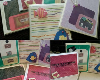 Greeting cards,  mix and match, Thank you,  Congratulations, Happy Birthday,  Blank, Thinking of you,  or any 5 sentiments.