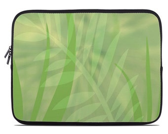 Tropical Leaves Laptop Sleeve, pale green laptop case, laptop cover, to fit 10, 13, 15, 17 inch, computer sleeve, netbook case