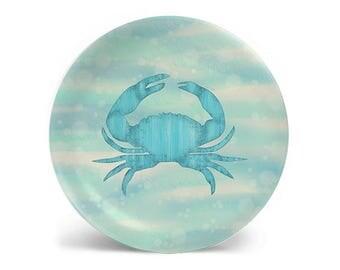 Blue Crab plate, melamine plate, dinner plate, decorative plate, salad plate, dessert plate, dinnerware, 8 inch plate, 10 inch plate