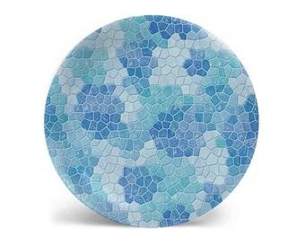 Melamine plate, dinner plate, ice blue faux mosaic decorative plate, salad plate, dessert plate, dinnerware, 8 inch plate, 10 inch plate