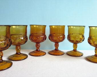 Vintage King's Crown Amber Stem Glasses - Wine Glasses - Goblets - Indiana Glass Company