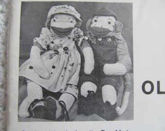 Vintage Old Tyme Sock Monkey in Costume Pattern Doll and Clothes Man Woman Dress
