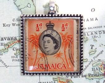 Vintage Jamaica Postage Palm Tree Stamp Necklace Pendant Key Ring