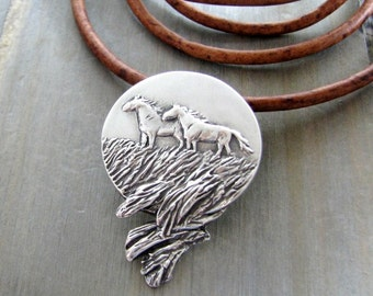 Open Spaces Pendant, Original and Exclusive Horse Jewelry by SilverWishes, Recycled Fine Silver