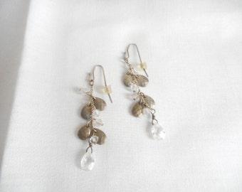 Vintage Gray Clear Lucite Dangle Drop Pierced Earrings