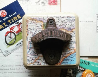 Map Beer Opener, Wall Mount Bottle Opener Made From a VIntage Map of Barcelona, Spain, Rustic Bar Accessories, Unique Guy Gift