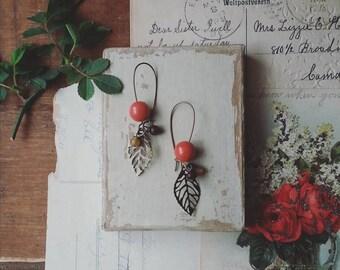 Beaded Leaf Earrings, Long Beaded Earrings, Filigree Leaf Dangle Earrings, Bohemian Jewelry for Women