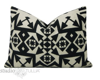Black and white wool pillow cover - made with Pendleton® wool - lumbar - 14x20 - ready to ship