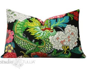 Schumacher Pillow Cover - 16 X 26 -  Chiang Mai Dragon - Ebony -  black floral - Decorative pillow Cover - Schumacher Pillow