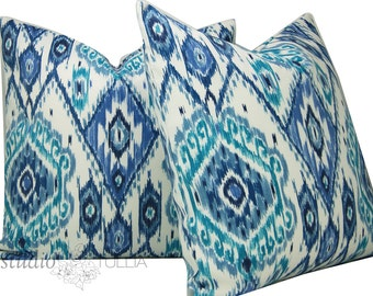 Outdoor Pillow Covers - Ikat Pillow - Set of TWO - blue ikat - bohemian - tribal - ehtnic - blue and white - ready to ship
