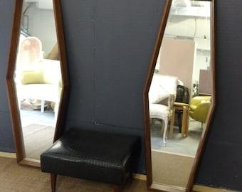 Pair Modern Mirror/ Mid Century Walnut Mirrors