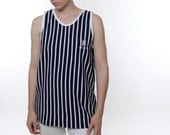 Vintage 90's knock off Polo tank top, vertical stripes, navy blue & white, waffle texture material - Unisex Medium