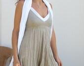 Short Natural and White Linen Dress / Natural Sand White / Summer Dress / Pure Linen / Crinkled Linen / Boho Beach Dress / Hand Made