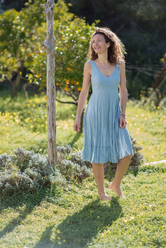 Linen dress light blue dress beach wedding summer dress midi for Light blue beach wedding dress