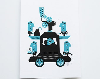 Mobile Cinema characters - Retro screen print - wall decor (new illustration with a vintage feel) movies theme christmas gift