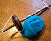 Waldorf Top Whorl Drop Spindle 2.4oz.  And Wool Roving Kit For Hand Spinning Yarn Free Shipping