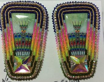 Native American Made Beaded Fan Powwow Fan Earrings