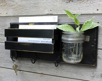 Rustic Entryway Organizer, Mudroom, Dog Leash Holder, Mail Organizer, Key Holder, Mail Holder,  Mason Jar Vase, Key Hook