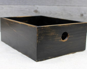 Wooden Desk Organizer in Distressed Black