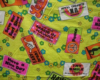 Turek of Hawaii Neon Surfer Cotton Bark Cloth Fabric 42x46 Vintage 1960s 1970s
