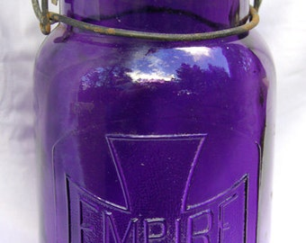 Super nice true antique EMPIRE fruit canning jar w/ Maltese Cross in exquistie TRANSLUCENT PURPLE color and all original -