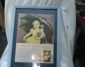 Vintage Framed Morton Salt Advertisement Plain or Iodized Has Girl with Umbrella, collectable