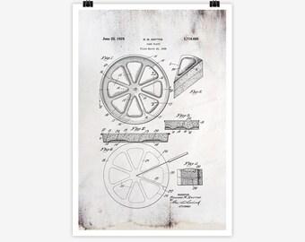 Patent Art Cake Plate, 1928 - Large Patent Art Print Print Patent Art Print Wall Decor Vintage Art Patent Print Wall Hanging 21.