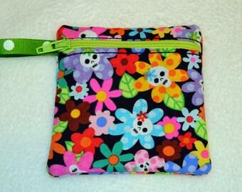 Handmade Sugar Skulls  -  Zippered pouch - Gift Card Holder - FREE shipping