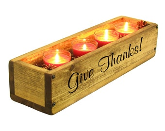 Thanksgiving Table Centerpiece, Give Thanks Table Centerpiece, Wooden Table Centerpiece, Candle Holder Thanksgiving Decor, Holiday Decor